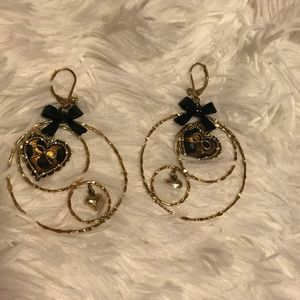Betsy Johnson Ear Rings and Bangle Bracelet Set